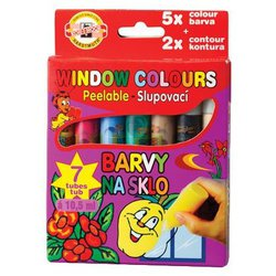 Краски KOH-I-NOOR Window colours 9738007001KK 5 цв. (10.5 мл.)