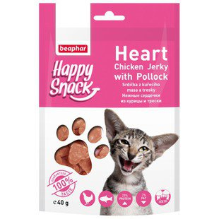 Лакомство для кошек Beaphar Happy Snack Heart Chicken Jerky with Pollock