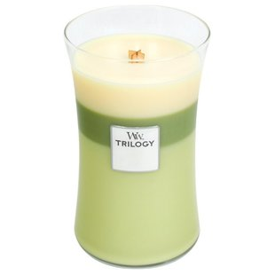 Свеча WoodWick Trilogy Garden Oasis (Lemongrass & Lily, Bergamot & Basil, Willow) (93962), большая